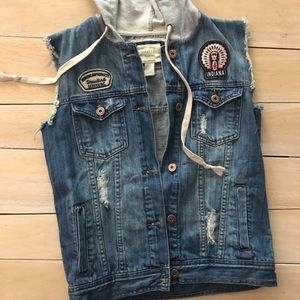 Forever 21 Denim Jean Vest with Hoodie Hood